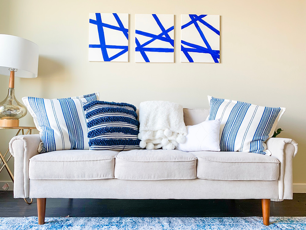 home decor, blue and white apartment, apartment decor
