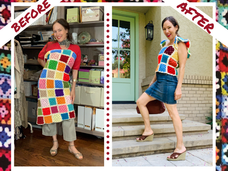 Upcycle Granny-Square Blanket into A Ruffle-Sleeve Top