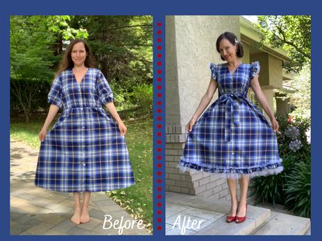 Upcycle & Refashion:                             Zara Tafetta Blue Plaid Midi Dress