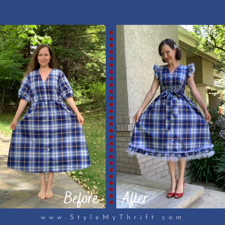 Upcycle & Refashion:                             Zara Tafetta Blue Plaid Midi Dress