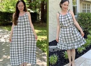 Maxi Dress into Ruffled Hem Sun-Dress...Beginner Refashion/Upcycle #1