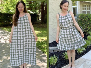 Maxi Dress into Ruffled Hem Sun-Dress...Beginner Refashion/Upcycle #1