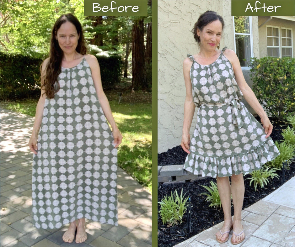 upcycle short summer ruffle dress from long maxi dress