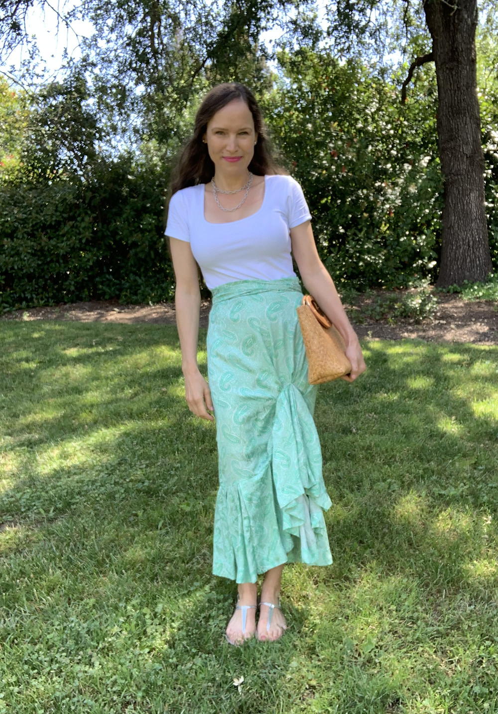 final look upcycle long high-low ruffle skirt