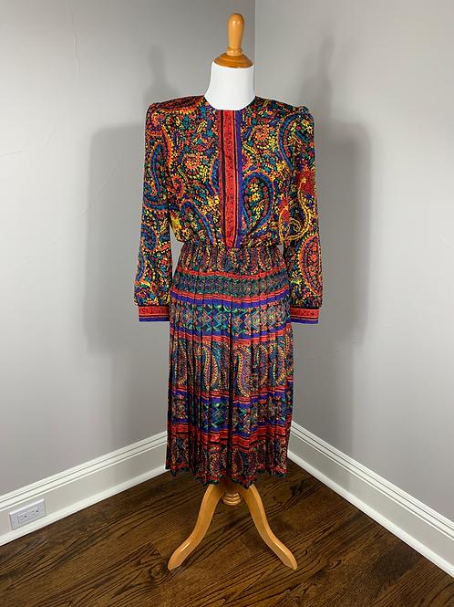 1980's R.O.Y.G.B.I.V. Pleated Dress