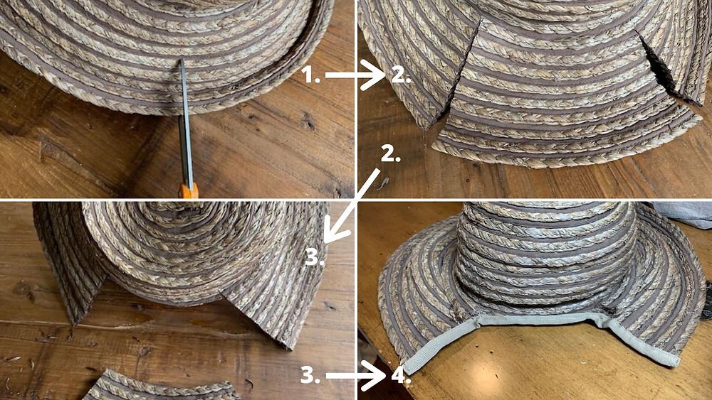 Creating Victorian Bonnet Base Shape from Regular Straw Hat