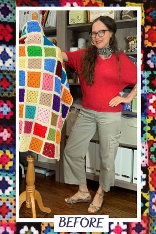 'Before' Thrifted, 1970's Granny Square Crochet Blanket