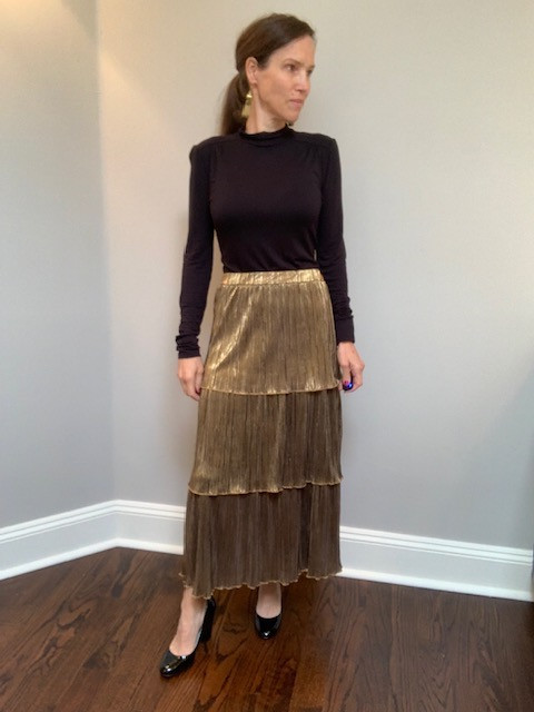 Thrifted Gold Tiered Skirt with Black Mock Turtle Neck