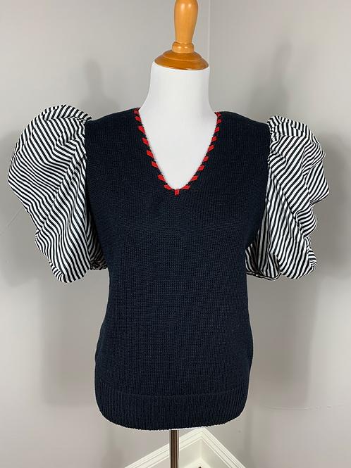 Ann Wi Designer Vintage Poof Sleeve Sweater Top