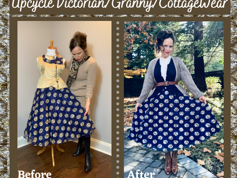 Upcycled Victorian, Granny/CottageWear Skirt from Thrifted Indian Festive Dress