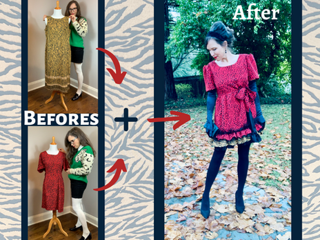 Combo-Upcycle from Walmart Animal Print Dresses into a Betsey Johnson Style Dress