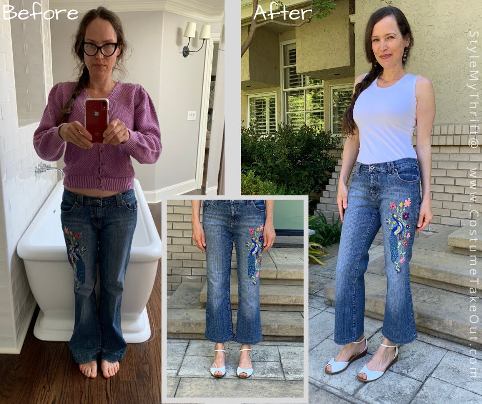 crop flarred hem jeans refashion from long boot-cut, low rise