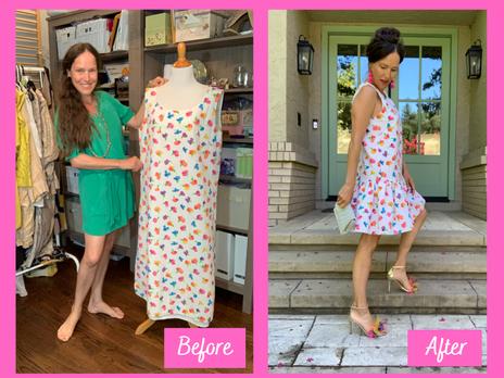 Refashion Vintage Tunic Dress into Drop-Waist Party Dress