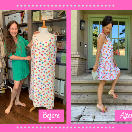 Refashion Vintage Tunic Dress into Drop-Waist Party Dress