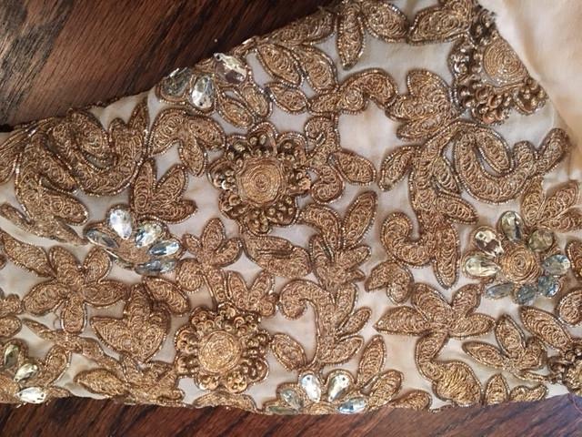 Close-up Original Gold Lace Applique On Thrifted Pakistani Dress