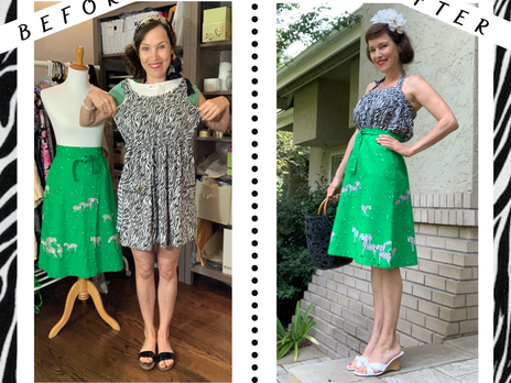 Upcycle Girl's H&M Dress into Woman's Retro Halter Top & Hemming Vintage Zebra Skirt