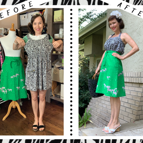 Upcycle Girl's H&M Dress into Woman's Retro Halter Top & Hemming Vintage Zebra Skirt