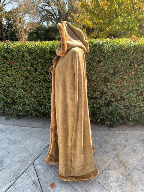 Side Profile Up-Cycled Chenille Hooded Cape