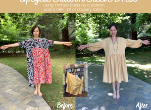 Upcycle Balloon Sleeve Dress From A Roll of 1987 Drapery Fabric