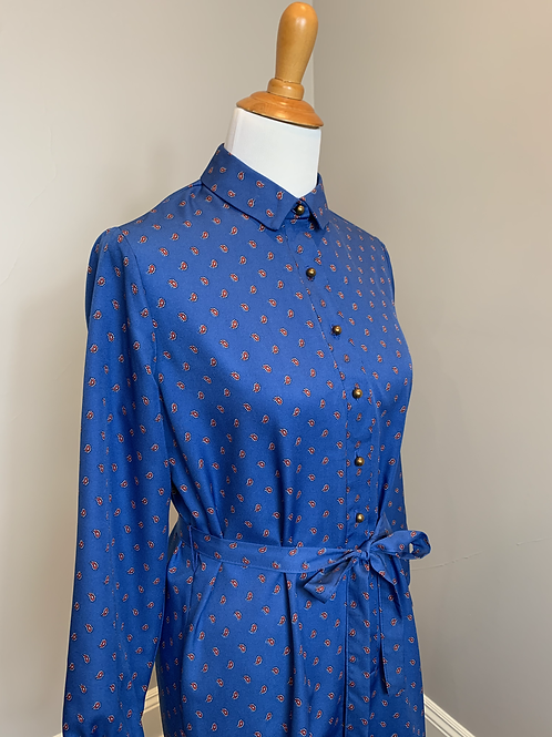 Vintage Royal Blue Shirt Dress with Red Paisley Print