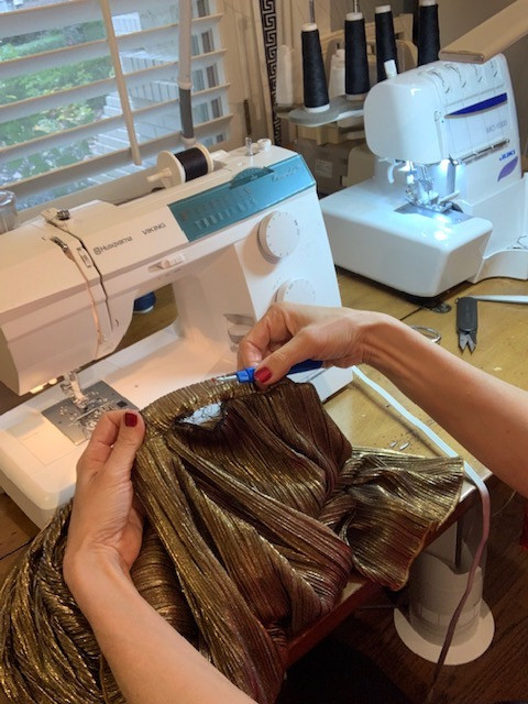 Reworking Neckline on Thrifted Gold Metallic Tiered Skirt