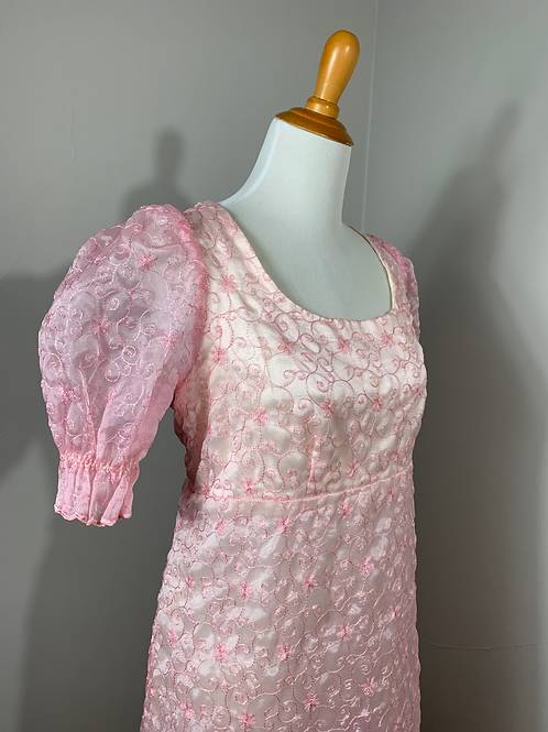 Vintage 1970's Embroidered Organza Dress