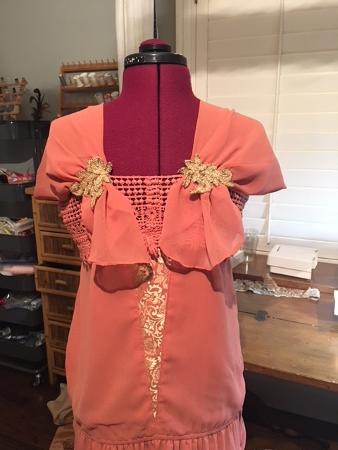 Upcycled Gold Lace Applique Sewn Onto Back Shoulders of Great Gatsby Dress