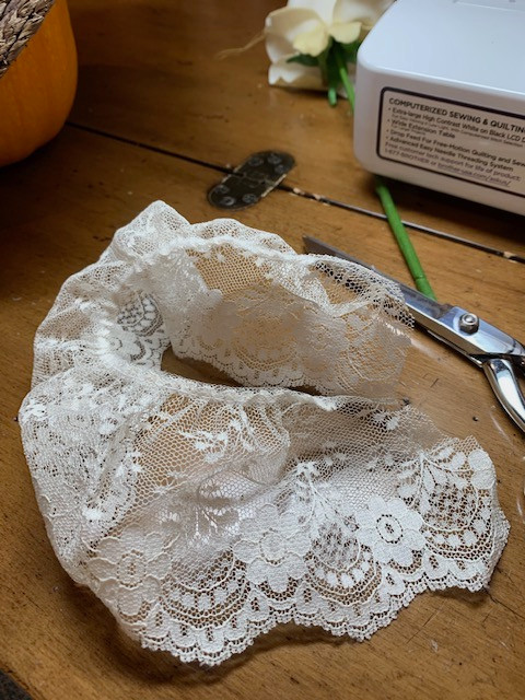 leftover lace to be used outside on bonnet