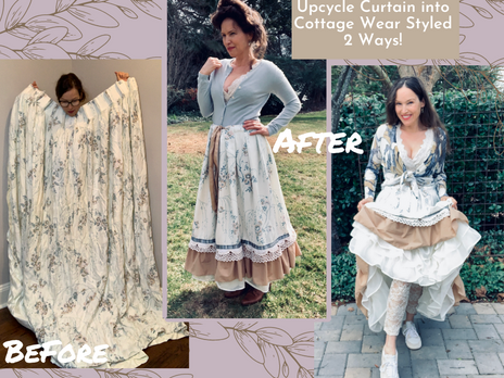 Upcycled Vintage Curtains into Cottage Core, Romantic, Skirt