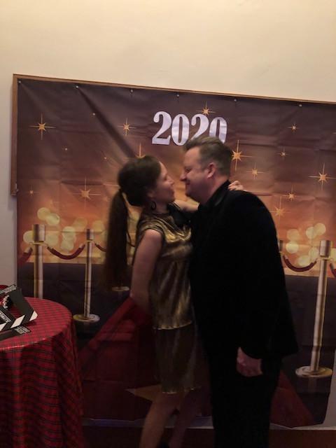 Eva with husband at 2020 NYE Party