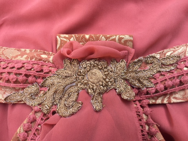 Close-Up Upcycled Applique Sewn Onto Front Drop-Waist Sash of Great Gatsby Dress