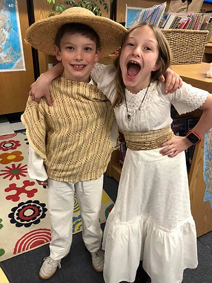 Upcycle California Mission Costumes for brother and sister from thrifted materials
