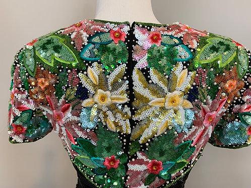 Naeem Khan 90's Floral Sequin Coctail Dress