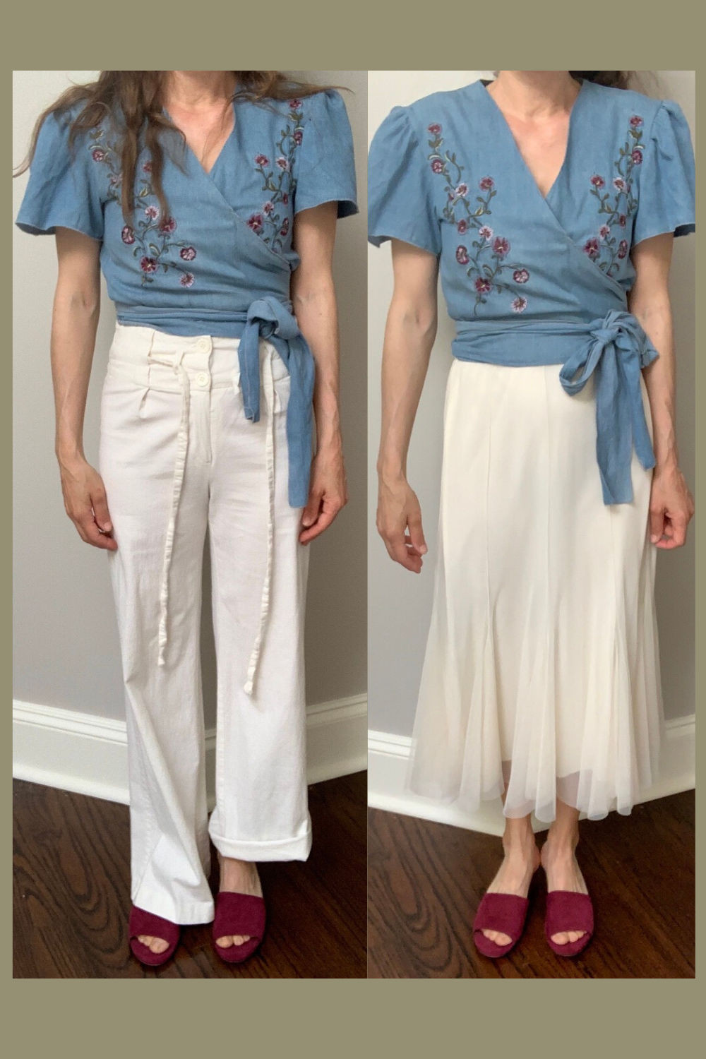 style options: white pants or white tulle skirt