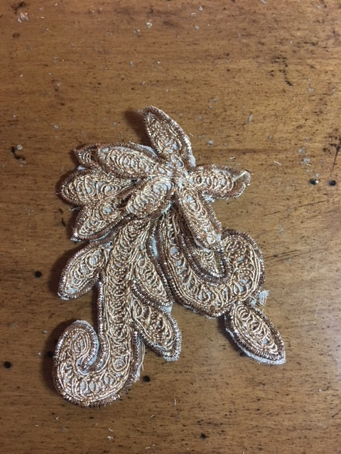 One Isolated Extracted Gold Lace Applique On Mesh Strips