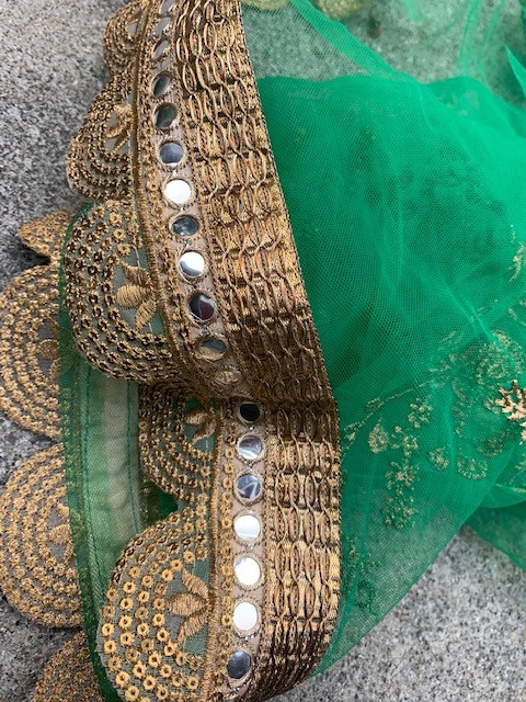 Upcycle Green Sari Scarf with Gold Trim, close-up