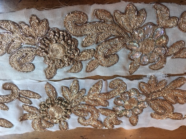 Extracted Gold Lace Applique On Mesh Strips