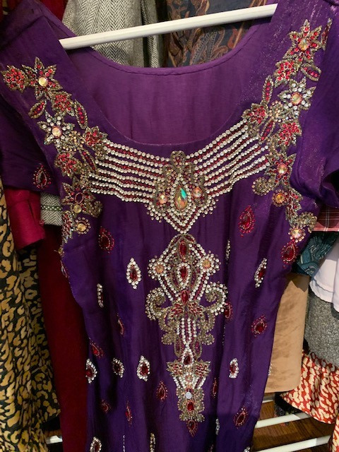 Thrifted Purple Sari Dress with Ruby Gems