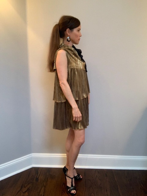 DIY, Upcycled, Copy-Cat Anthropologie Gold Tiered Dress from Thrifted Skirt
