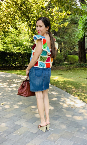 Upcycled Granny Square Ruffle Sleeve Top