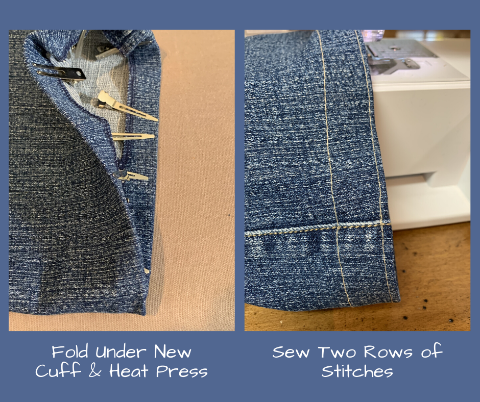 hot press new hem, and double stitch edge