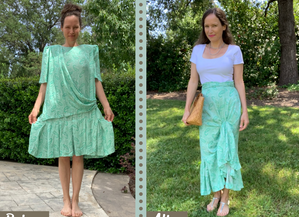 1980's Dress Upcycle Into High-Low Ruffle Skirt...A New Collaboration