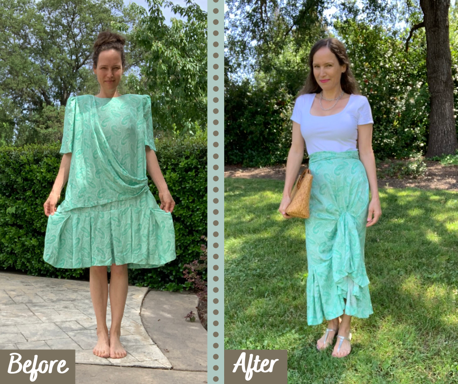 Before and After Upcycle High low ruffle skirt from 1980s dress