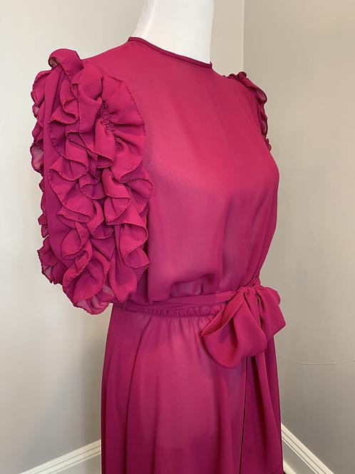 Vintage Raspberry Colored Chiffon Dress