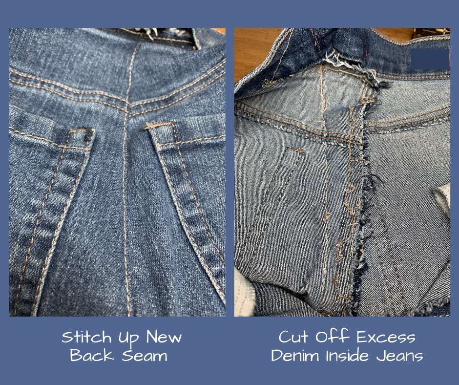 sew up back seam and cut off excess fabric