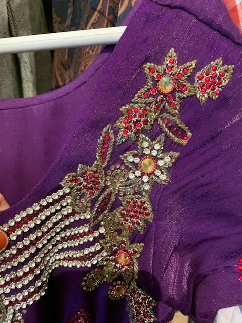 Thrifted Purple Sari Dress with Ruby Gems close-up