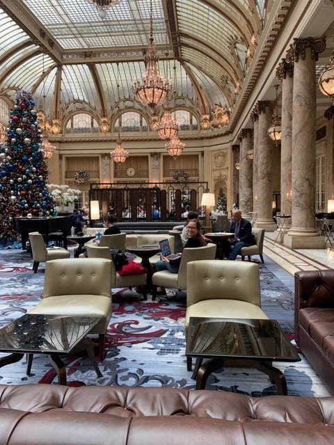 Eva in lobby of Palace Hotel, San Francisco