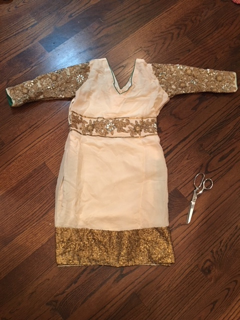 Original Gold Lace Applique On Thrifted Pakistani Dress