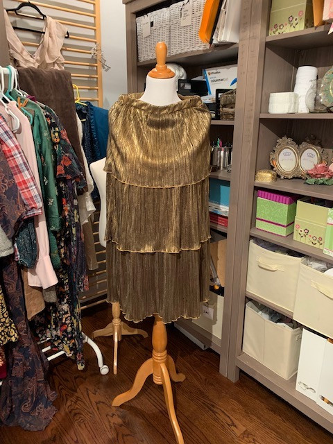 Thrifted Gold Metallic Tiered Skirt on Mannequin