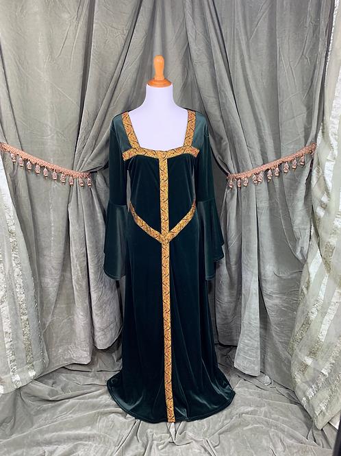 Velvet Green Medieval Dress